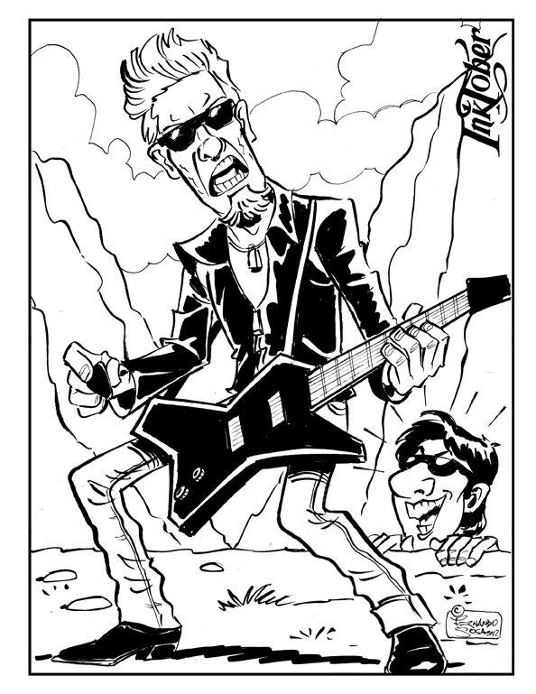 """Día 27 del desafío #inktober #inktober2017 la palabra de la lista es #climb (ascenso) y la banda homenajeada es #Metallica con su recordado video para la película #MI2 donde estaban tocando en el cañon del Monument Valley y se lo ve a #tomcruise escalando.Casualmente el tema traducido se llama """"desaparezco"""" y el que se desapareció fue #JasonNewsted de Metallica luego de grabar ese single.#caricature #humør"""