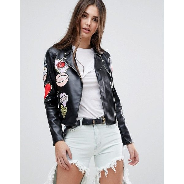 Glamorous Badge Faux Leather Biker Jacket (€53) ❤ liked on Polyvore featuring outerwear, jackets, black, faux-leather jackets, studded faux leather jacket, motorcycle jacket, cropped faux leather jacket and embroidered jackets