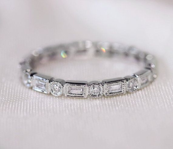Unique Baguette/Round14K White Gold Wedding Ring/Band Full Eternity Band Solid  SI/H Diamond Engagement Ring/ Promise Ring/ Anniversary Ring...