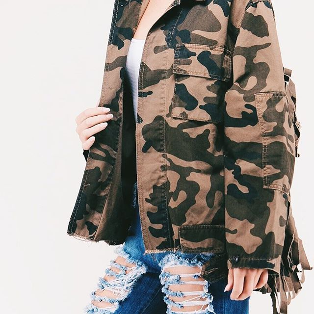 Calm, cool, and collected our camo-fringe jacket is coming in August but pre-order now! ❤️