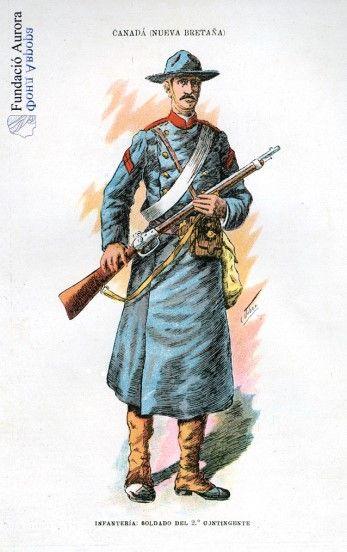 Soldado canadiense del año 1903. Ilustrador: C. Urbez. Si quieres saber más, visita: http://www.fundacioaurora.com/isladevancouver/?portfolio=soldados