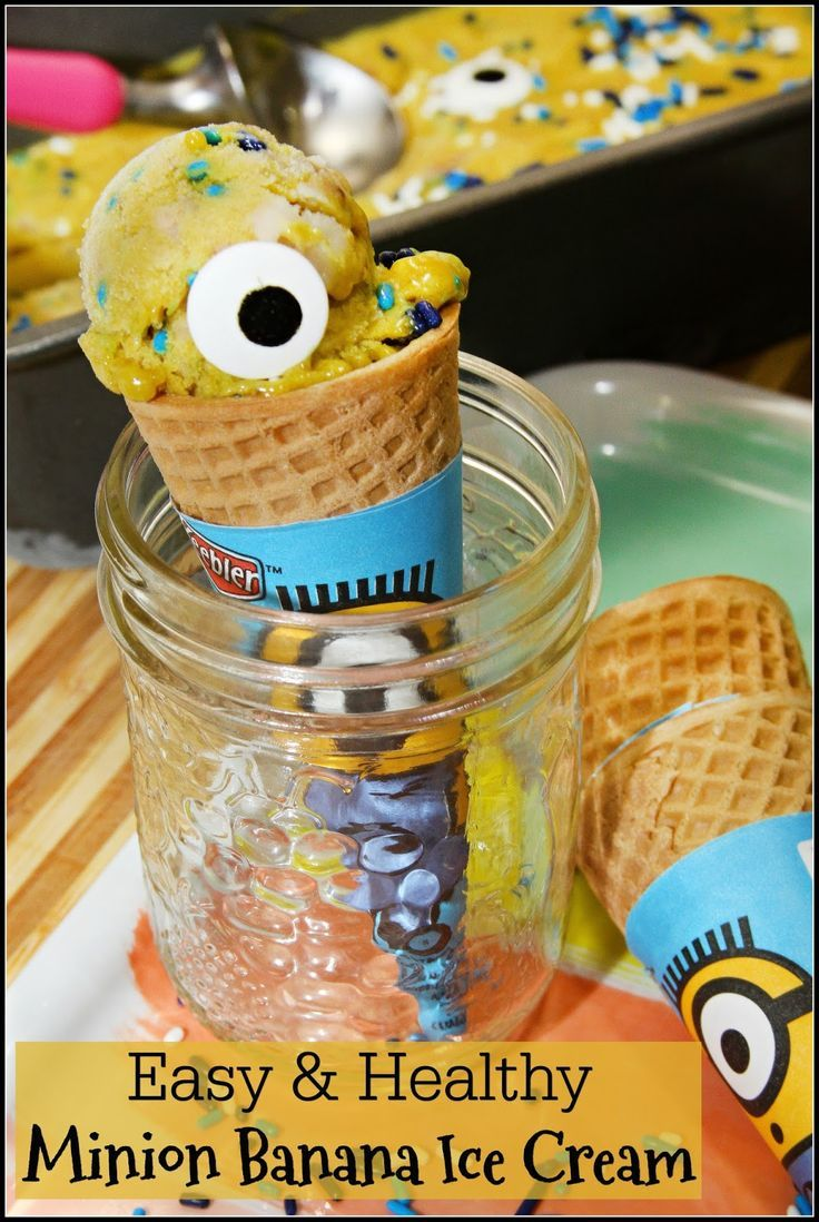 Easy & Healthy Minion Banana Ice Cream -no churn recipe with just 3 basic ingredients!
