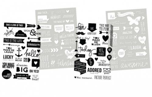 SIMPLE STORIES SN@P! DIY 5144 - INSTA OVERLAYS - 4 arkWords (2) Black & (2) White Sheets        SIMPLE STORIES-DIY Insta Clear Sticker Sheets: Words In Black And White.A perfect addition to all your paper crafting projects! Clear stickers are perfect for embellishing your photos! This package contains four 6x4 inch sheets (two sheets with black letters and two sheets with white letters) with over fifty clear stickers. Acid-free and lignin-free.