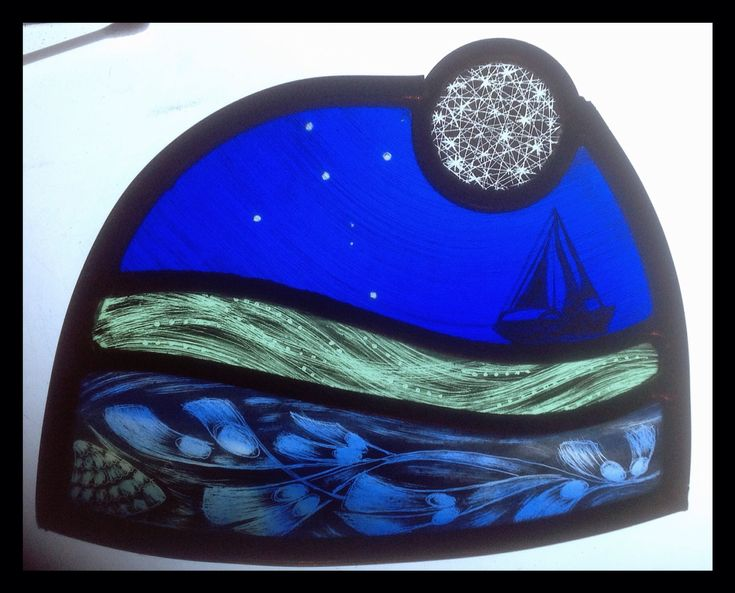 Small stained glass panel designed and made by Sarah Roberts Stained Glass Art. The client wanted it as a present and the boat and constellation, (the Southern Cross) had a special significance. #stainedglass #stars #sea #sailing