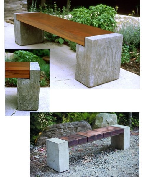 wood and concrete bench..for under the front awning?  would tie in the front door and  the side gate.