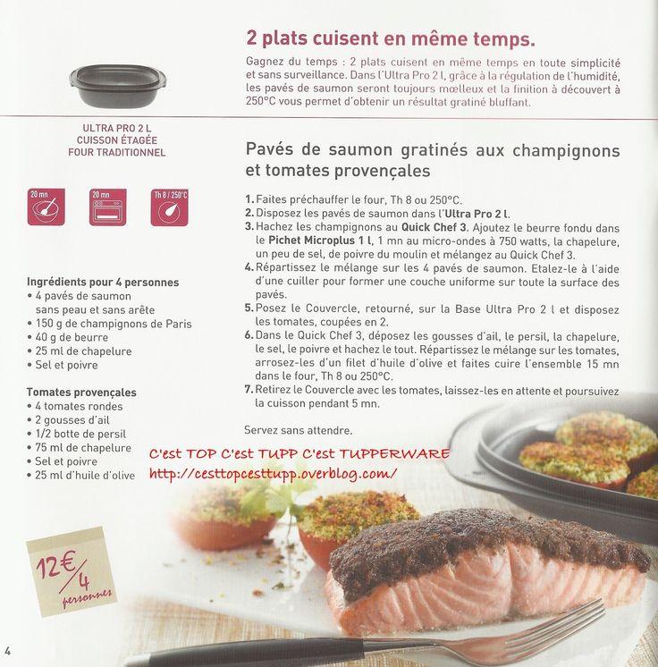 Recettes - C'est TOP C'est TUPP C'est TUPPERWARE - Pavé de saumon gratiné aux champignons et tomates provencales