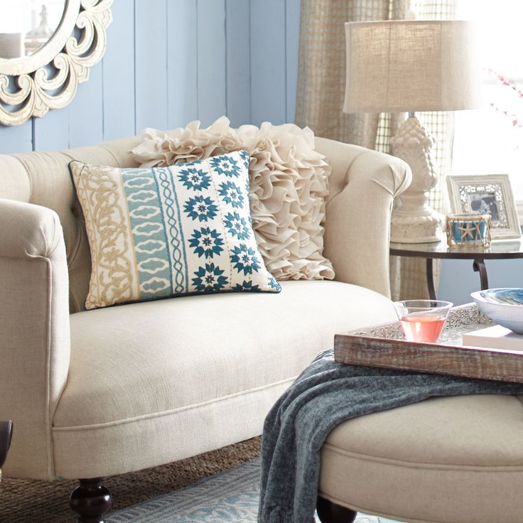 pier 1 living room rugs%0A Harlem Blues Moroccan Crewel Pillow   Pier   Imports
