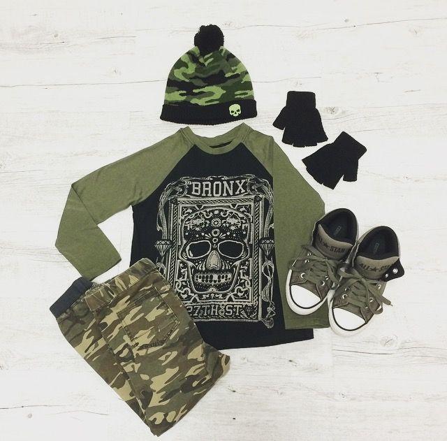 Kickin In Camo - Magnus wears: Beanie: K-Mart, H&T Fingerless Gloves: K-Mart Necklace: Icon 77, T-Shirt: Raglan Skull-Big W, Cargos: Cotton On Kids, Shoes: Converse