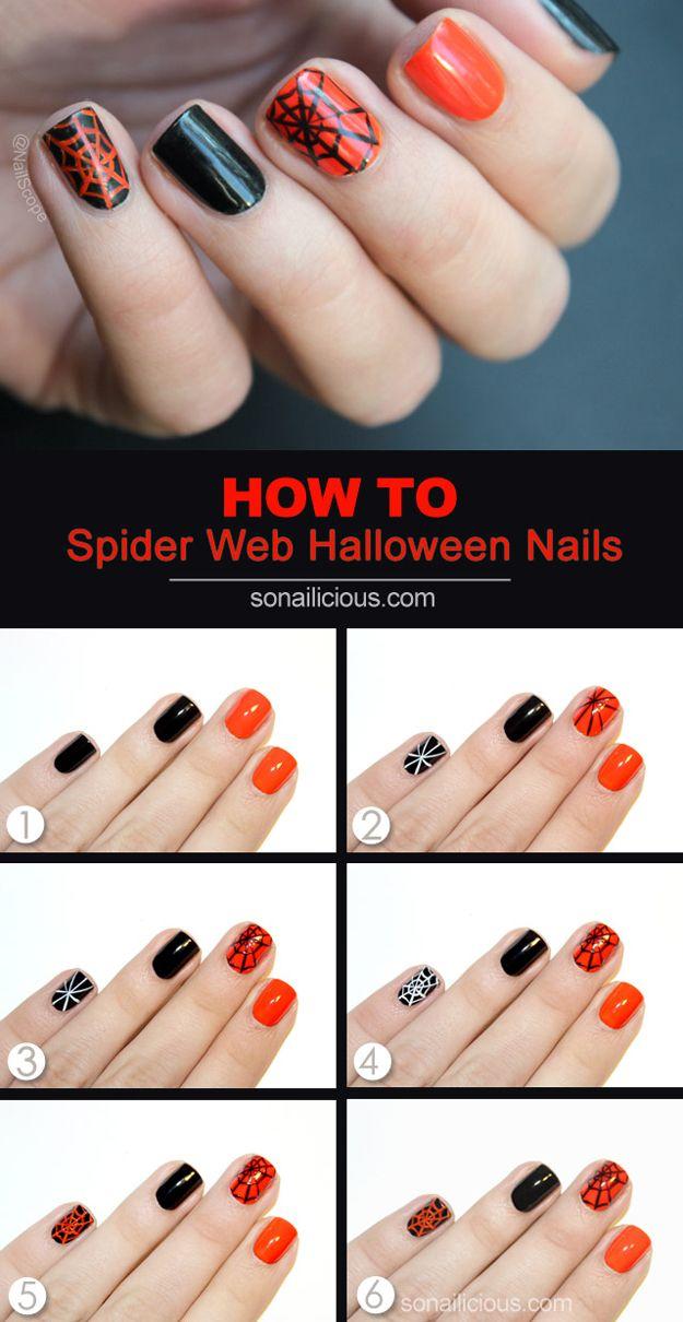 33 Cool Nail Art Ideas - Spiderweb Halloween Manicure Nail Design Tutorial