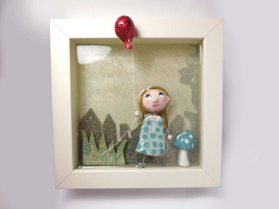 Original Handmade Framed Art, Nursery Wall Deco, Resin 3D Diorama mixed media art with handmade clay doll holding a clay balloon. €66.00, via Etsy.