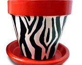 Painted Copper And Gold Leopard Animal Print Plant 6-inch Pot. $19.00, via Etsy.