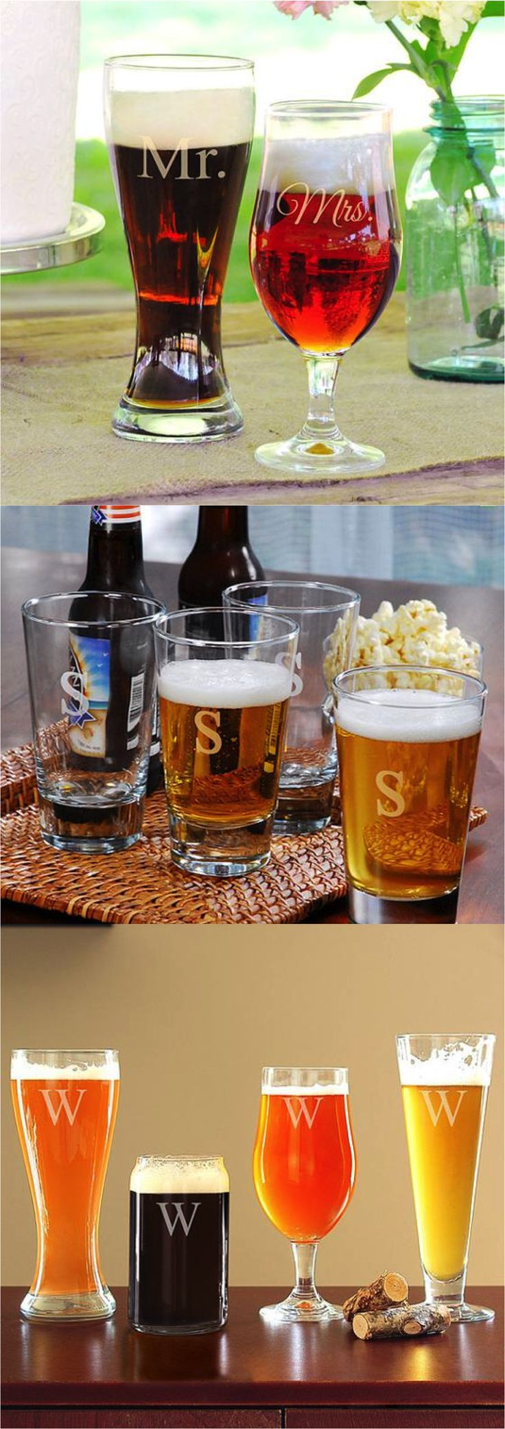 You'll be the classiest beer drinker in town with these personalized beer glasses made in various shapes & sizes. A great gift for the guy's guy or the couple who loves beer! | Made on Hatch.co by independent designers & makers who care.