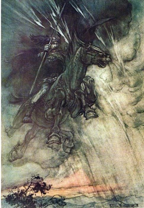 Wotan on Sleipner — Arthur Rackham illustration for Wagner's Ring Of The Nibelung In Norse mythology, Sleipnir is Odin's eight-legged horse — described as the best of all horses — who is sometimes ridden to the location of Hel.