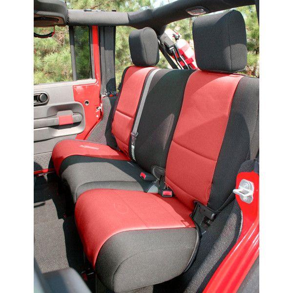 Neoprene Rear Seat Cover, Black/Red; 07-16 Jeep Wrangler JK
