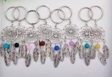 Hot 10 pcs Antique Silver Dream Catcher & Plume & Perle Charme Dreamcatcher Porte-clés Keychain De Voiture Sac Décorations Femmes Bijoux B302(China (Mainland))