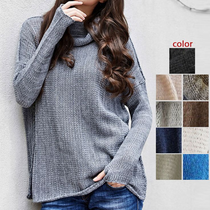 Fashion Women Jumpers Turtleneck Oversized Sweater Loose Long Sleeves Loose Spring Autumn Knitted Pullovers  FS99