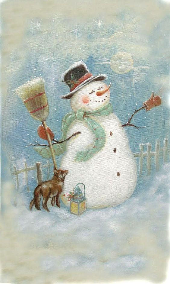 Snowman with Fox, Broom, and Lantern