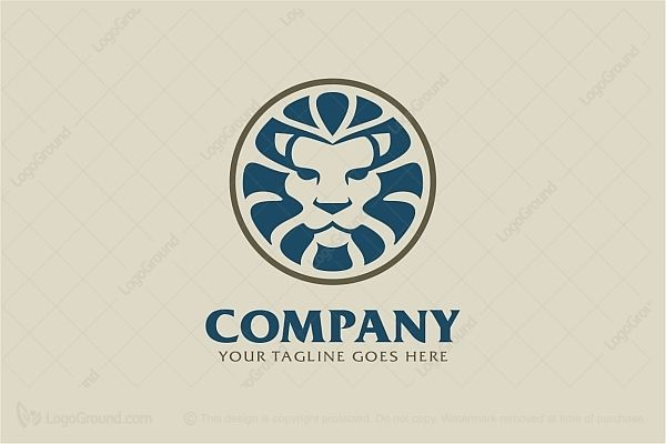 Blue lion logo with crown - photo#25