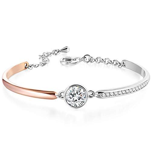 Crystals from Swarovski 7 Gift for Girlfriend Wife 18K Gold Plated Encounter Bangle Bracelet Jewelry Gift for Birthday Anniversary