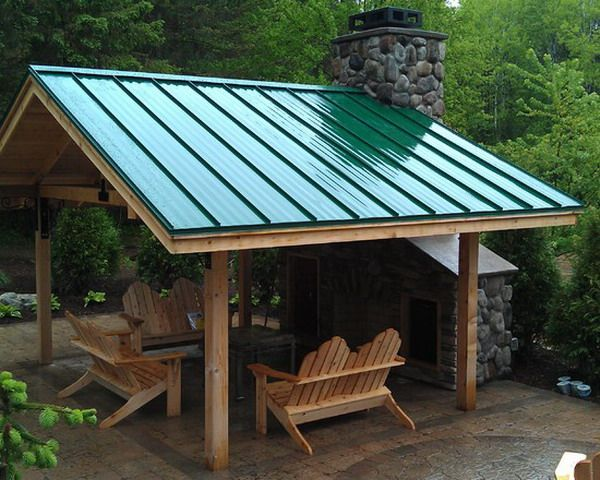 Green Metal Roof For Traditional Covered Patio Using