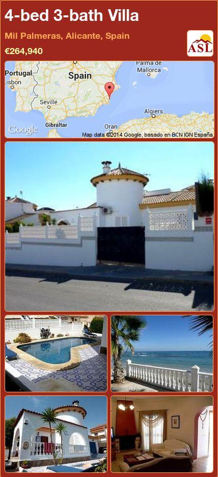 4-bed 3-bath Villa in Mil Palmeras, Alicante, Spain ►€264,940 #PropertyForSaleInSpain