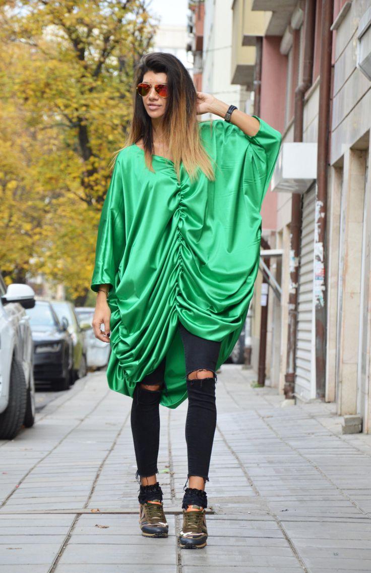 Asymmetric Green Maxi Dress, Womens Style Long Tunic Top, Extravagant Long Dress, Loose Kaftan By SSDfashion