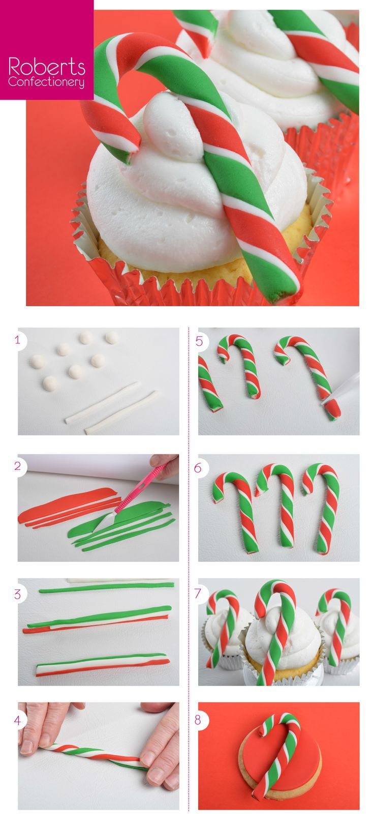 Candy Cane Cupcake Toppers using Satin Ice Fondant