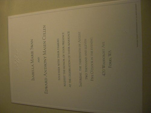 Twilight Breaking Dawn Wedding Invitation - Bella Swan & Edward Cullen by Twilight Breaking Dawn. $14.99. licensed Summit product - 5x7 tan wedding invitation to the Twlight Braking Dawn event - Edward and Bella's wedding