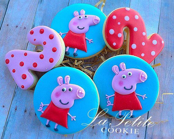 Peppa Pig Birthday Sugar Cookies 1 dozen by LaPetiteCookie on Etsy