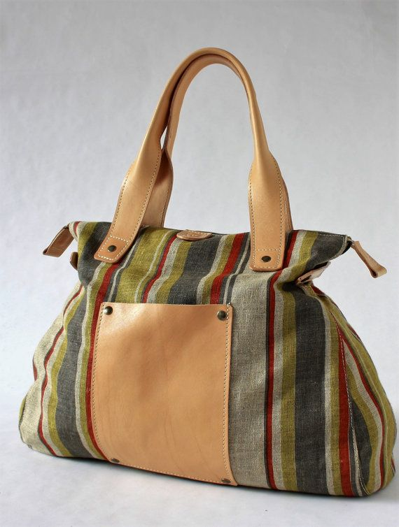 saleDUFFLE BAG/Overnight Travel Bag in linen and genuine by ElMato