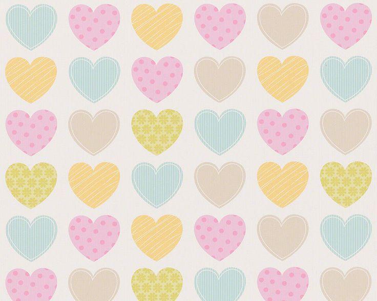 AS Creations Girls Bedroom Wallpaper 93566-2 Pinks lemons, Greens Blues Hearts
