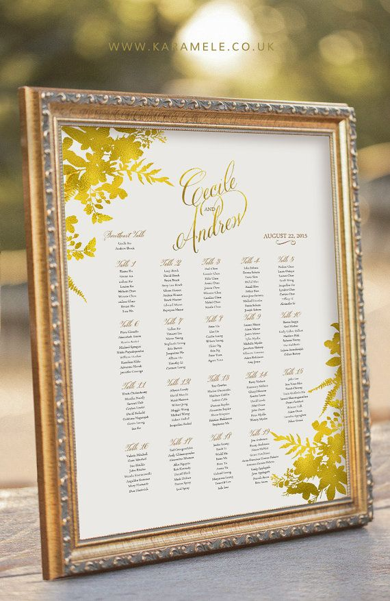 Gold Guest Seating Chart , Wedding Reception Sign , digital PDF file