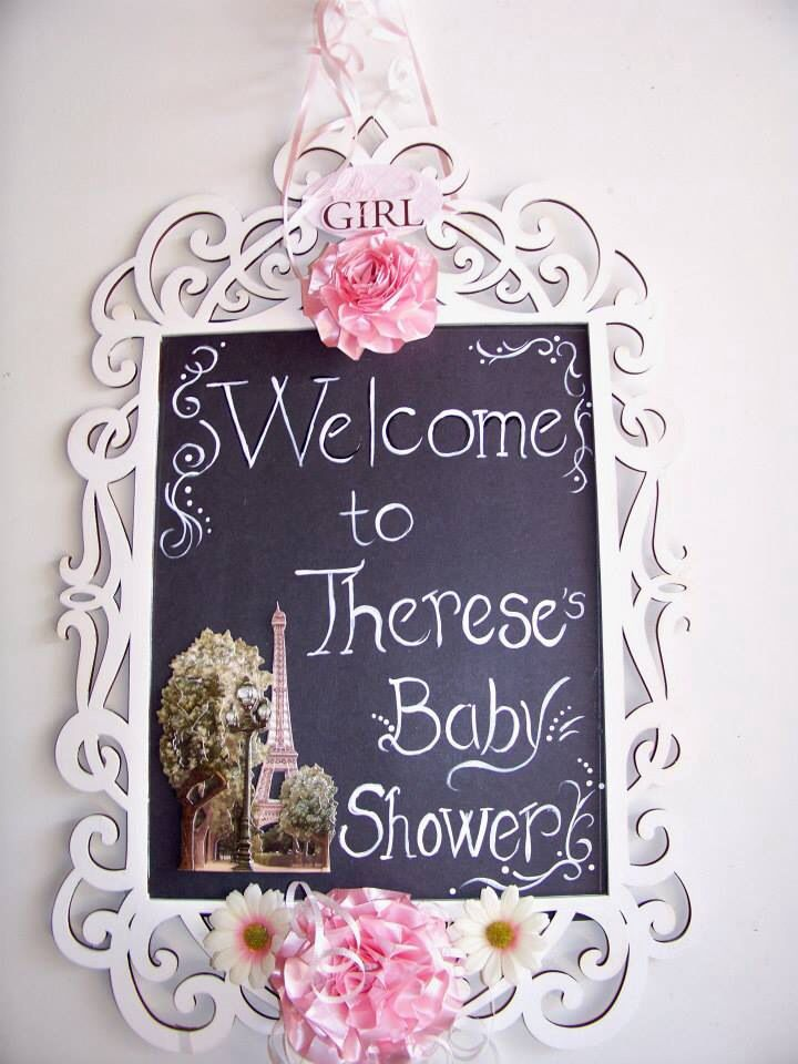 Paris Themed Baby Shower Decorations All Handmade By My Mama This Is A  Frame Painted White