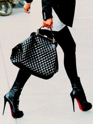 Street style chic/karen cox...Love Louis Vuitton handbag and louboutin booties all in winter black