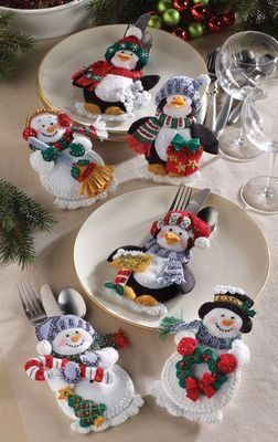 Christmas Silverware Holder Penguin and Snowman