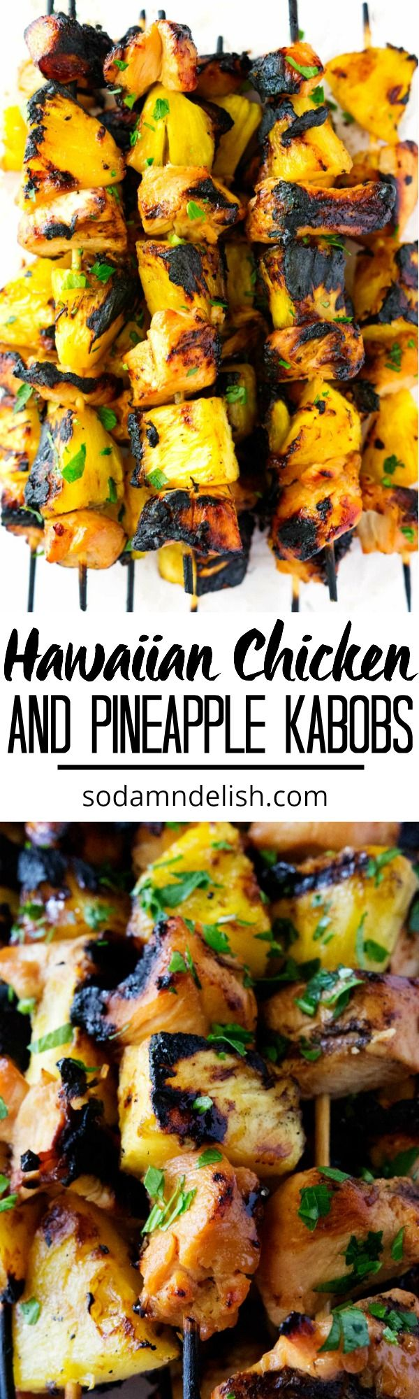 These Hawaiian Chicken and Pineapple Kabobs take chicken and pineapple to the next level. The Hawaiian marinade on the chicken and the brown sugar on the grilled pineapple are asurefire way to make a delicious meal in less than 10ish minutes cooking time!