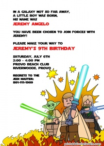 Free Printable Lego Star Wars Birthday Invite-lots of really beautiful free printable invites on this site:)