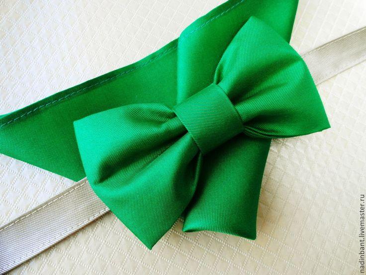 """Галстук бабочка """"Настоящий зеленый"""" шелк - зеленый,однотонный,яркий зеленый"""