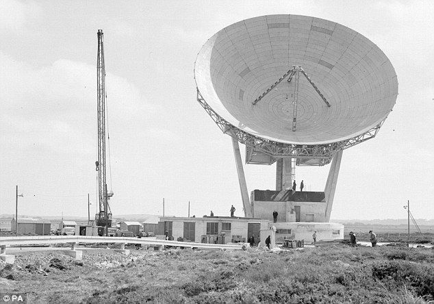 The completed Antenna One at Goonhilly Earth Station. It is celebrating the 50th anniversary of the first satellite TV broadcast
