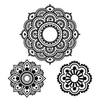 motif marocain: Tatouage au henné indien forme ronde - modèle Mehndi