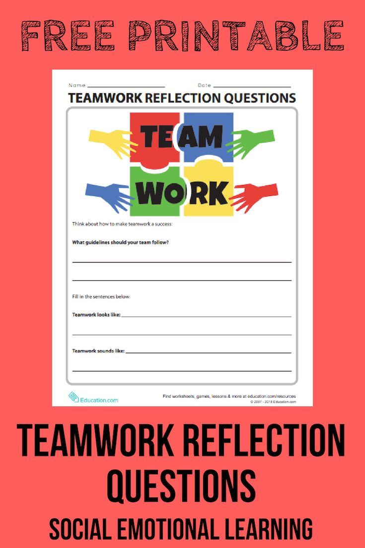 Teamwork Reflection Questions   Worksheet   Education.com   Social  emotional learning [ 1102 x 735 Pixel ]
