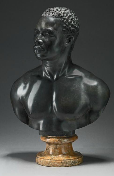 Studio of Francis Harwood Bust of a Man England (c. 1758) Black limestone on a yellow marble socle, 69.9 x 50.2 cm Yale Center for British Art, Paul Mellon Collection [x]