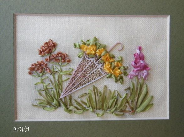 Ribbon embroidery.