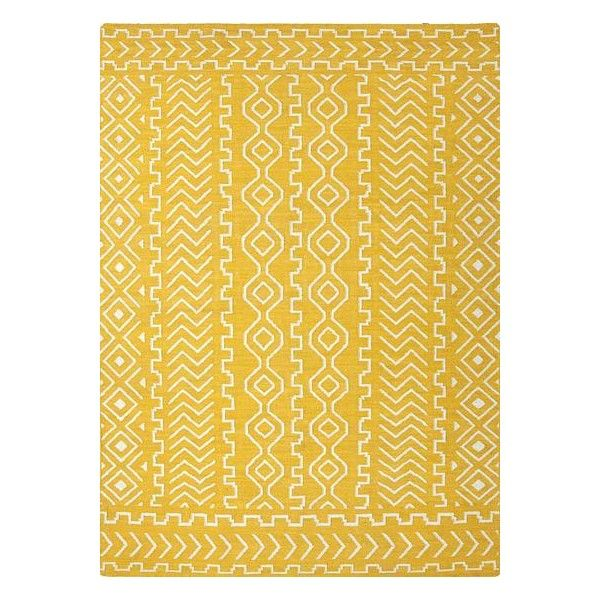 NOVICA Flat-Weave Tribal Pattern Wool Yellow and Ivory Area Rug ($794) ❤ liked on Polyvore featuring home, rugs, area rugs, flat-weave, homedecor, yellow, tribal rug, cream area rug, wool rugs and beige wool rug