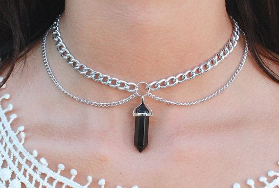 хххххххххххBlack Onyx Double Chain Choker by Vivamacity on Etsy