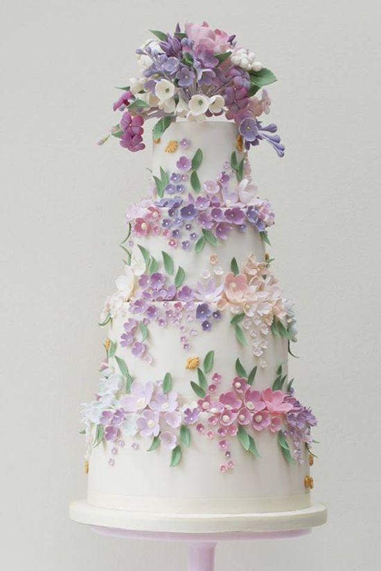Purple wedding floral wedding cake ~  we ❤ this! moncheribridals.com #floralweddingcake