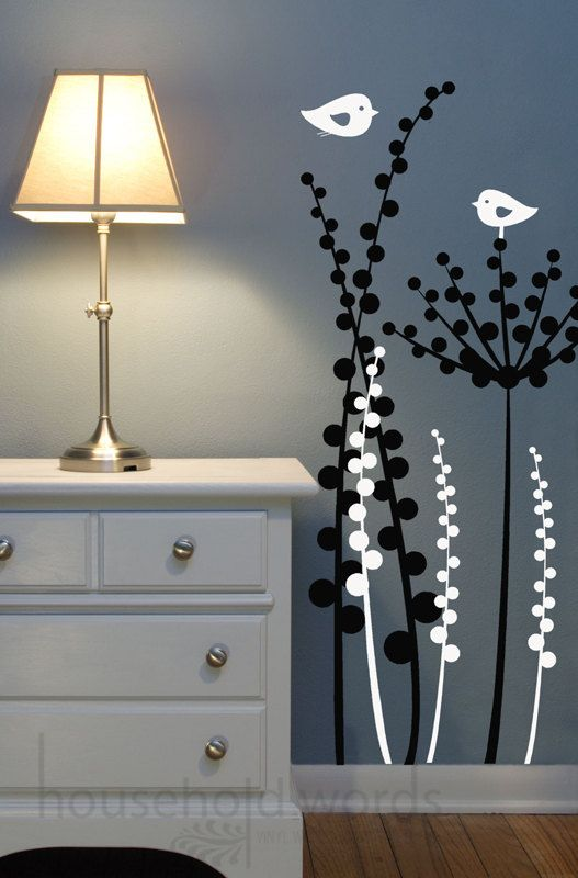 Unique Vinyl Wall Decal Dandelion Floral pod decals with birds, baby Nursery Decals, Modern Abstract design, Fun office Window Display Decal