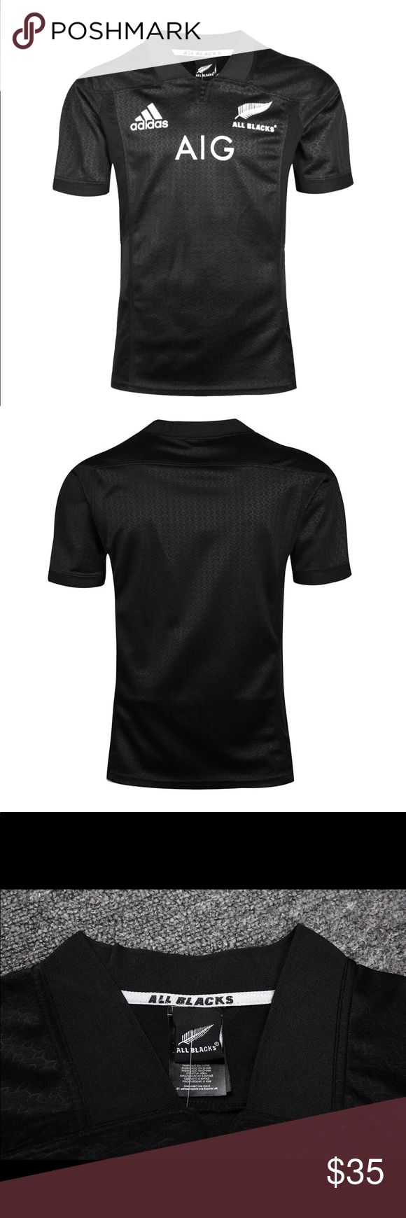 2016-2017 All Blacks Rugby Jersey All Blacks Home Jersey. A replica of the jersey the All Blacks wear when they play home games. Designed with the aim to help the team maintain their number one position in world rugby!  •Made from 100% polyester climalite  •Features a ribbed collar for improved comfort and an   adaptive fit  •High density printed All Blacks, adidas, and AIG logos returning to white in colour adidas Shirts Polos
