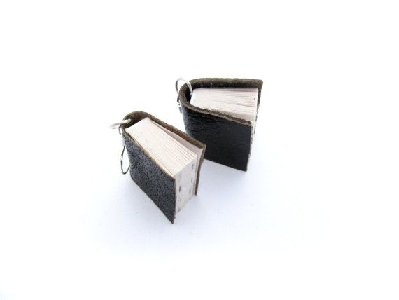 Black Leather Miniature Book Earrings - Upcycled Book Jewellery - Handcrafted for a Literature Lover https://www.etsy.com/nz/shop/ExLibrisJewellery
