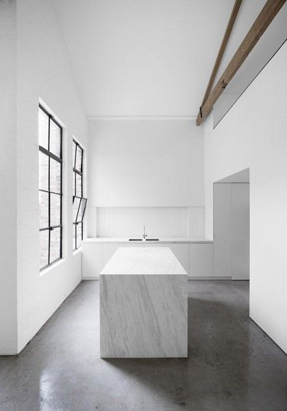 #architecture #design #interiors #kitchen #minimalism #white - 230 Chapel Street, Melbourne. Photo byPeter Clarke.///////Dedicated to deliver superior interior acoustic experince. www.bedreakustik.dk/home